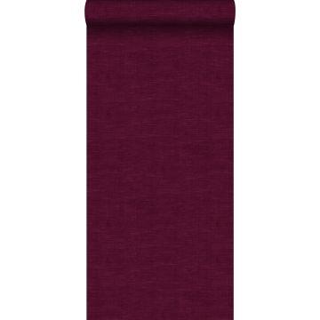 behang effen linnenstructuur bordeaux rood