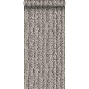 behang geweven riet motief warm grijs