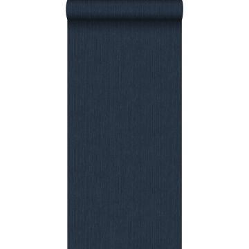 behang effen denim jeans structuur donkerblauw