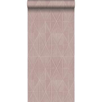 eco texture vlies behang origami motief zalmroze