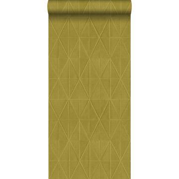 eco texture vlies behang origami motief okergeel