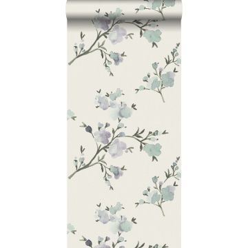 eco texture vlies behang kersenbloesems beige en lila paars