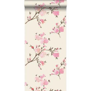 eco texture vlies behang kersenbloesems roze