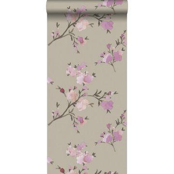 eco texture vlies behang kersenbloesems taupe en lila paars