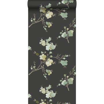 eco texture vlies behang kersenbloesems groen, okergeel en zwart
