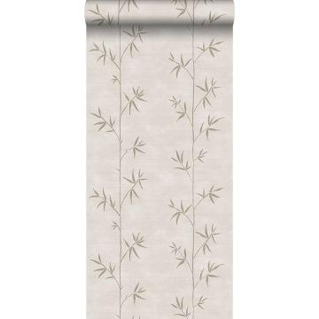 behang bamboe donker beige