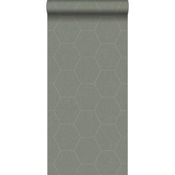 behang hexagon vergrijsd olijfgroen