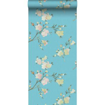 eco texture vlies behang kersenbloesems Van-Gogh-blauw