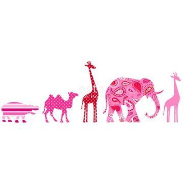 vlies behang rand XXl dieren roze