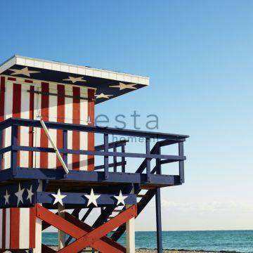 fotobehang strandhuis rood, wit en blauw