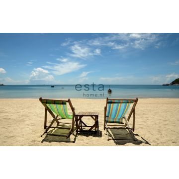 fotobehang strand blauw en beige