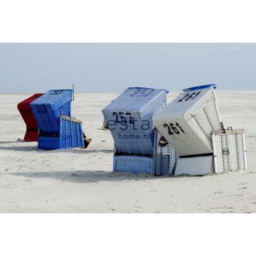 fotobehang strandstoel blauw en beige