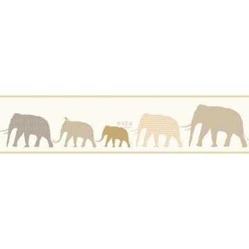 vlies behang rand XXl olifanten beige