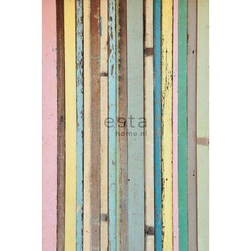 fotobehang sloophout licht roze, geel, blauw en groen