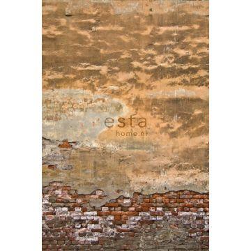 fotobehang old Tuscan wall oranje