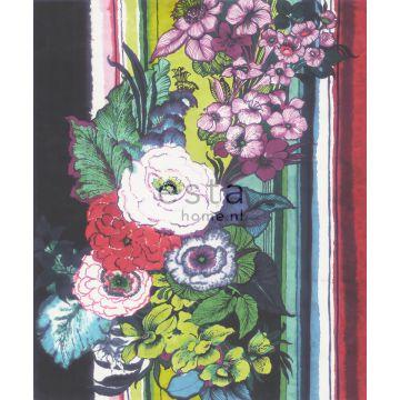 fotobehang bloemen zwart, rood, blauw, wit en groen