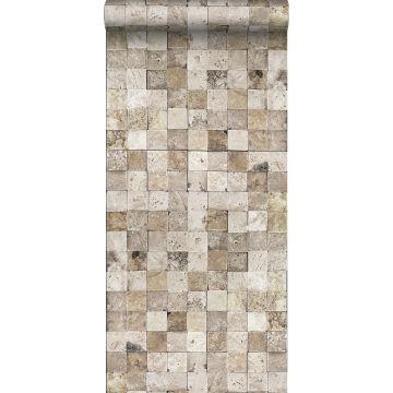 vlies wallpaper XXL marble squares beige