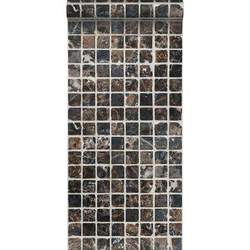 vlies wallpaper XXL mosaic tiles bruin en zwart