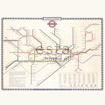 fotobehang Lodon transport map beige, rood en blauw