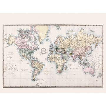 fotobehang vintage map of the world beige, pastel geel, poederroze en groen