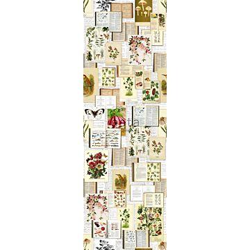 fotobehang botanische prenten beige, groen en roze