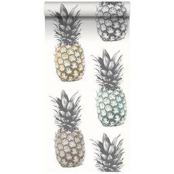 vlies wallpaper XXL ananassen beige, mintgroen en grijs