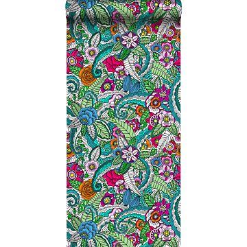 vlies wallpaper XXL bloemen mandala's roze, groen, oranje, paars en blauw