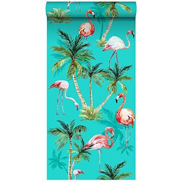 vlies wallpaper XXL flamingos turquoise, groen en roze