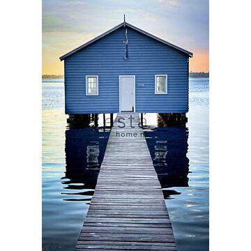fotobehang strandhuis blauw, grijs en avondrood