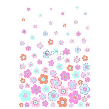 fotobehang vintage bloemen turquoise, roze en paars