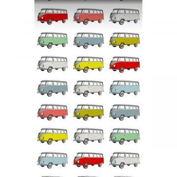 vlies wallpaper XXL vintage transporters geel, blauw, grijs, rood en groen