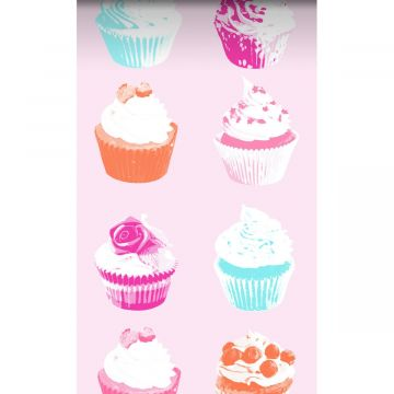 vlies wallpaper XXL cupcakes roze, blauw, wit en oranje