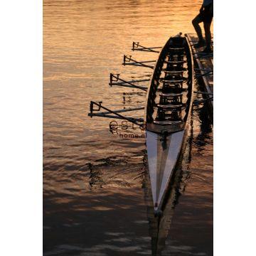 fotobehang roeiboot bruin en oranje