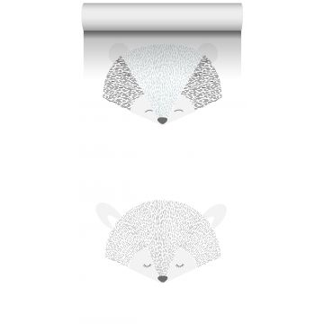 vlies wallpaper XXL dierenkoppen lichtgrijs en zwart