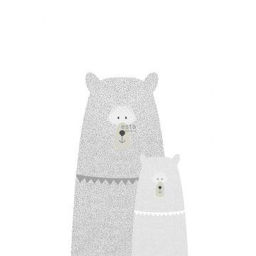 fotobehang beren moeder en kind lichtgrijs