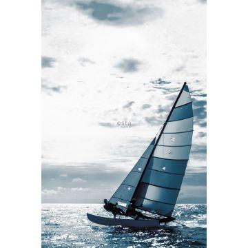 fotobehang zeilboot blauw