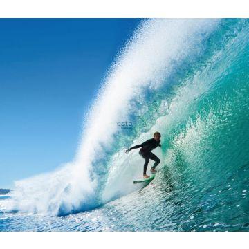 fotobehang surfer blauw en zeegroen