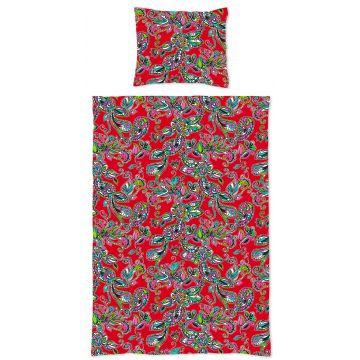 eenpersoons dekbedset funky flowers en paisleys rood