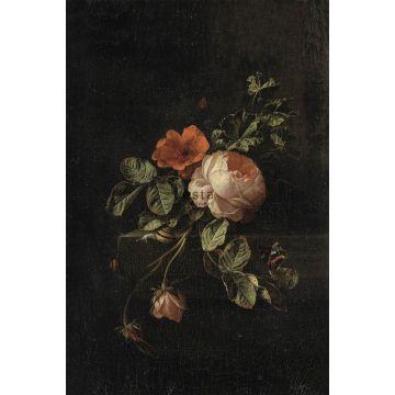 fotobehang bloemstilleven donker rood en zwart
