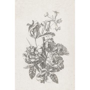fotobehang bloemstilleven zwart wit