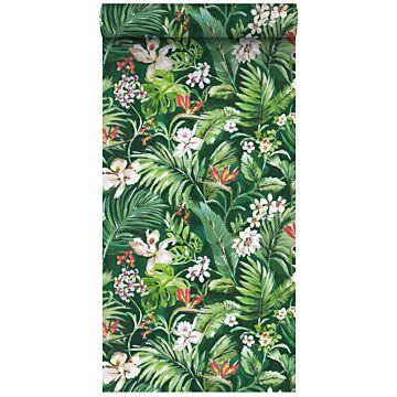 vlies wallpaper XXL tropische bladeren en bloemen emerald groen