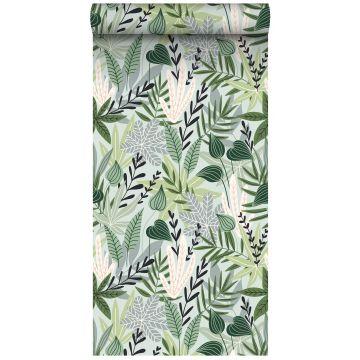 vlies wallpaper XXL bladeren in scandinavische stijl mintgroen