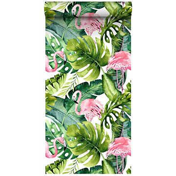 vlies wallpaper XXL tropische bladeren met flamingo's groen en roze