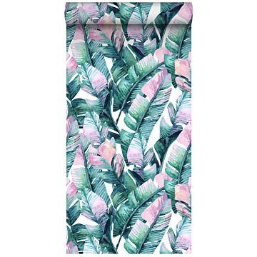 vlies wallpaper XXL bananenbladeren turquoise en roze
