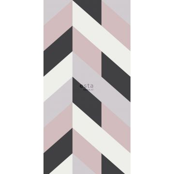 fotobehang visgraat-motief zwart, wit en oudroze