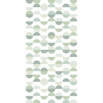 fotobehang halve cirkels in retro stijl groen