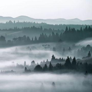 fotobehang mistige bergen groen