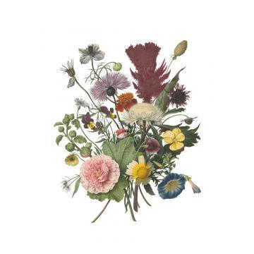 fotobehang boeket groen, roze, geel en paars