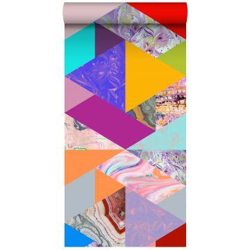 vlies wallpaper XXL driehoeken met marmer effect geel, blauw, roze en groen