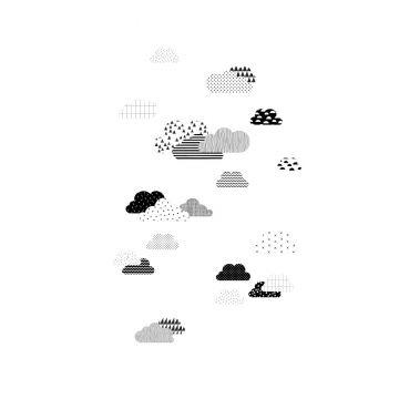 fotobehang wolken zwart wit